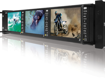"Rent: Triple 4.8"" LCD 2RU Multi-Channel Rack Monitor"