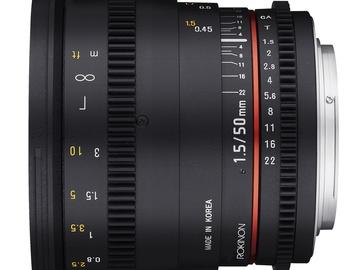 Rent: 50mm T1.5 Rokinon Cine Lens Canon EF