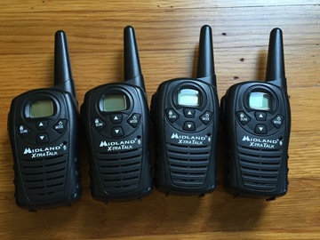 Rent: Midland X-TRA TALK GMRS 2-Way 18-Mile 22 Channel Radios (x4)