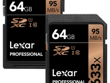 Rent: Set of 2 Lexar 64GB Professional UHS-I SDXC Memory Cards