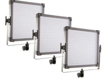 3 LED Panels w/ Batteries and Stands