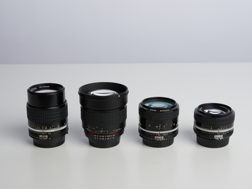 Rent: Nikon Prime Lens Set 35mm 50mm 85mm 105mm w/ Canon Adapters