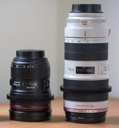 Canon 2 lens set (24-70mm II L and 70-200mm L II IS) geared