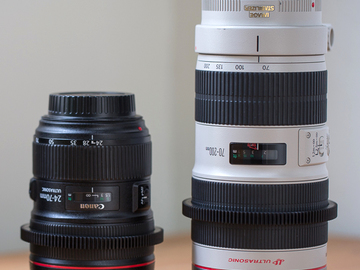 Rent: Canon 2 lens set (24-70mm II L and 70-200mm L II IS) geared