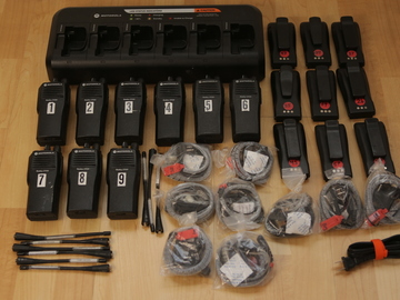 Rent: (9) Motorola CP200 UHF 16ch Walkie Talkies w/ Headsets