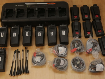 Rent: (7) Motorola CP200 UHF 16ch Walkie Talkies w/ Headsets