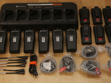 Rent: (6) Motorola CP200 UHF 16ch Walkie Talkies w/ Headsets