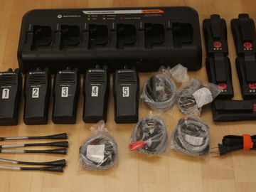 Rent: (5) Motorola CP200 UHF 16ch Walkie Talkies w/ Headsets