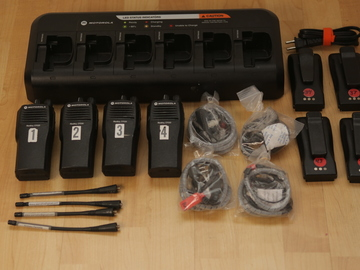 Rent: (4) Motorola CP200 UHF 16ch Walkie Talkies w/ Headsets