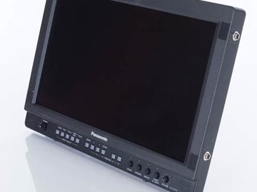 """Rent: 17"""" Panasonic Monitor W/BNC and Rolling Baby Stand"""