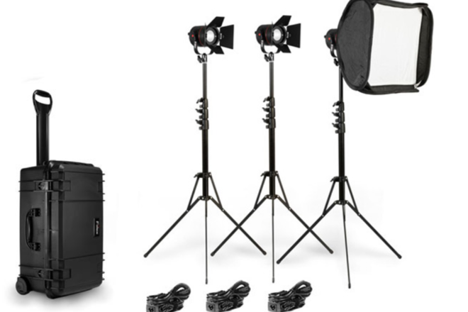 Fiilex 302 3-Light Kit with lenses and battery cables
