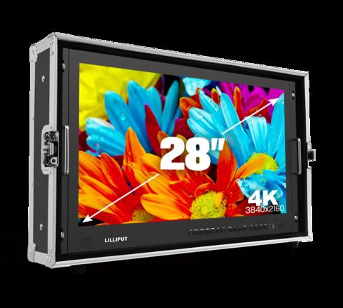 """Lilliput 4K 28"""" Client Monitor (V-Mount) +C-Stand, batt, SDI"""