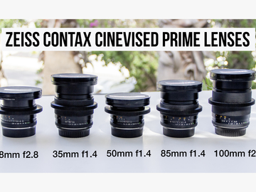 Rent: 5 ZEISS CONTAX CINEVISED PRIMES  w/CANON MOUNT