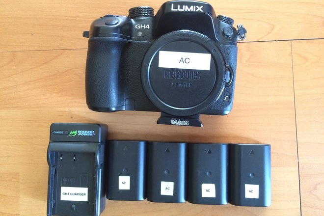 GH4 with Vlog + EF to M43 Speedbooster, 4 batteries