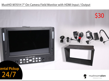 "Rent: MustHD M701H 7"" On-Camera Field Monitor"