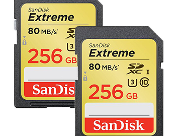 Rent: 2x SanDisk 256GB U3/UHS-I SDXC with 4K Ultra HD Card Pack