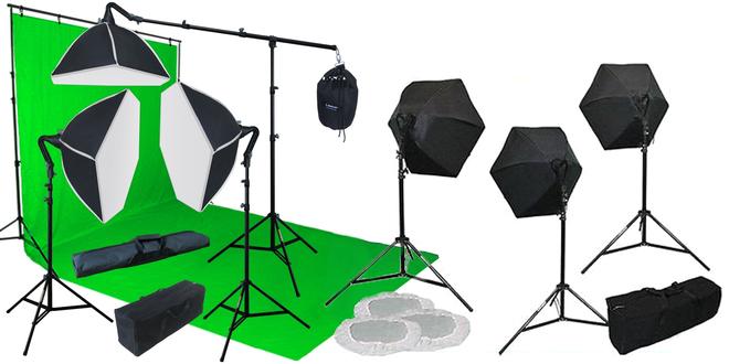 Portable green screen lighting kit