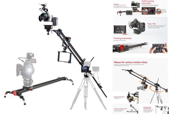 Programmable camera slider and 4' jib w/remote head