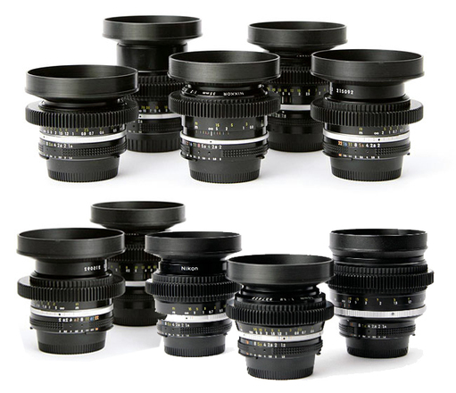 Nikon cine-mod EF mount legacy prime lens kit (f1.2-3.5)