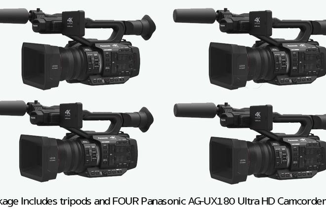 Set of Four Panasonic UX180 4K Cameras, Tripods, Cards