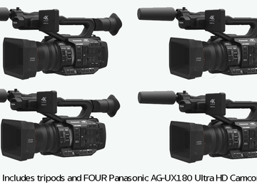 Rent: Set of Four Panasonic UX180 4K Cameras, Tripods, Cards