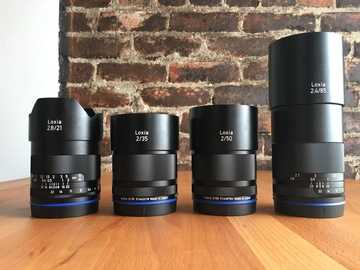 Rent: Zeiss Loxia Bundle (21mm, 35mm, 50mm, and 85mm) E-mount