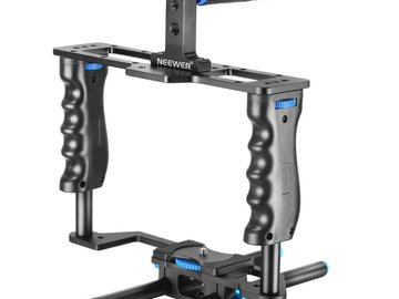Rent: Camera Cage w Top Handle Grip + (2) 15mm Rod for DSLR