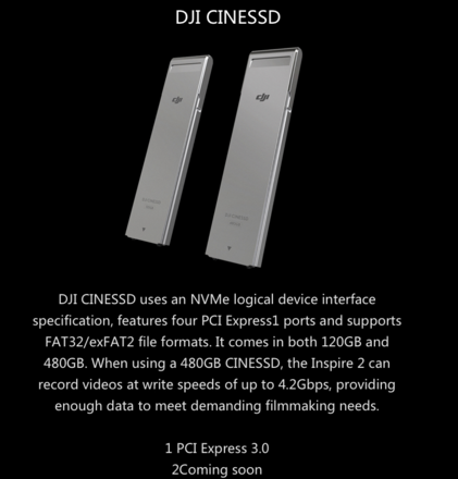 2 x DJI INSPIRE2 480GB SSD CARDS & CINESSD READER