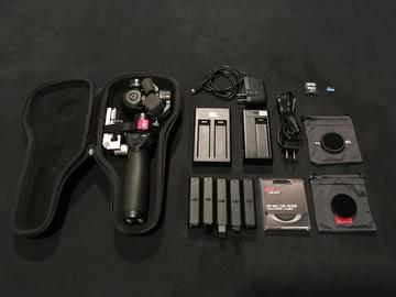 Rent: DJI Osmo X3 Gimbal, 5 Bats, Filters, Car mount