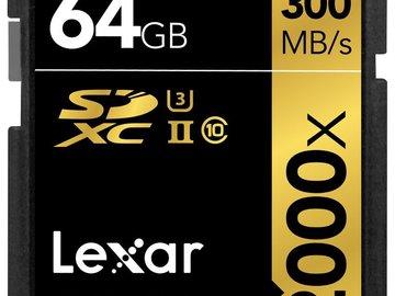 Rent: Lexar Professional 2000x 64GB SDXC UHS-II/U3 (Up to 300MB/s