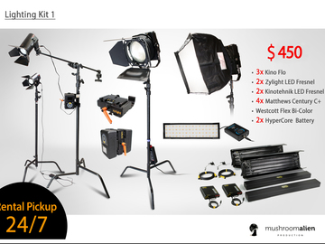 Rent: Kino Flo 4x4 + Zylight + Practilite Lighting Kit with Grips