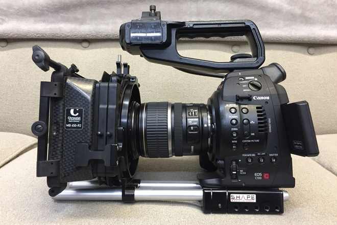 Canon EOS C100 Kit w/ProRes, rails, mattebox, extended bat