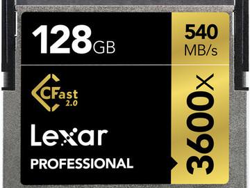 Rent: (2) CFast Cards 2.0 Lexar 128GB Professional 3600x