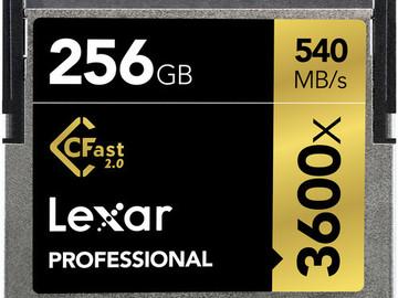 Rent: (1) CFast Card 2.0 Lexar 256GB Professional 3600x