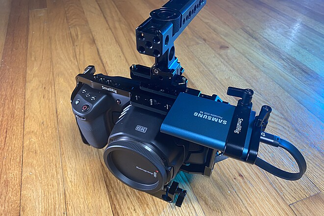 BMPCC 6K w/ shoulder rig, cage, 18-55mm lens, and 500GB SSD