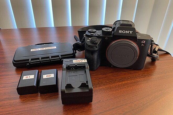 Sony A7RII w/ 8 Batteries, SD Card, Strap, & Case