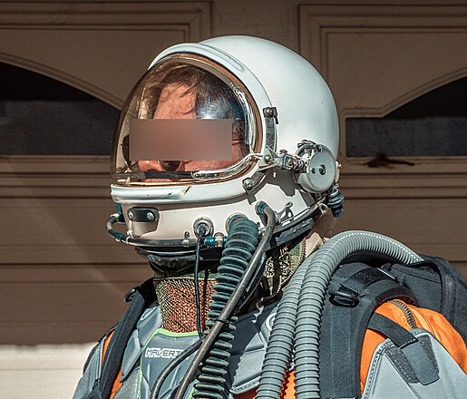 Astronaut Pilot Helmet and High Altitude Flight Space Suit