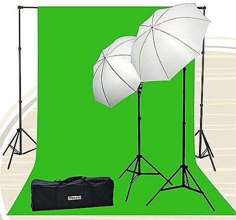 10x20 Ft Green Screen w/ 2 Lights & Stands