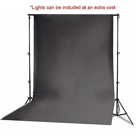 10x20 Black Muslin Backdrop w/ Stands, Lights Available