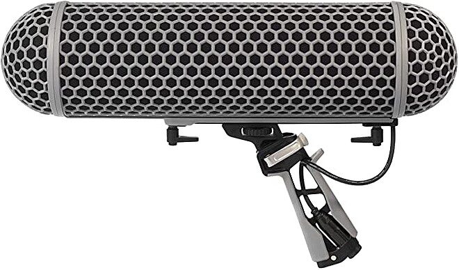 Blimp Windshield and Rycote Shock Mount Suspension System for Shotgun Microphone