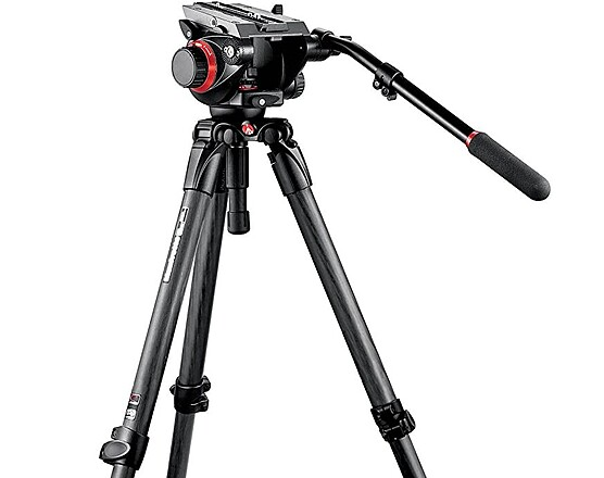 Manfrotto 504HD and 535K Midi Carbon Fiber System Tripod with Video Head