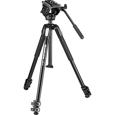 Manfrotto 190X Tripod with MVN500A fluid head and Neewer  leveling head