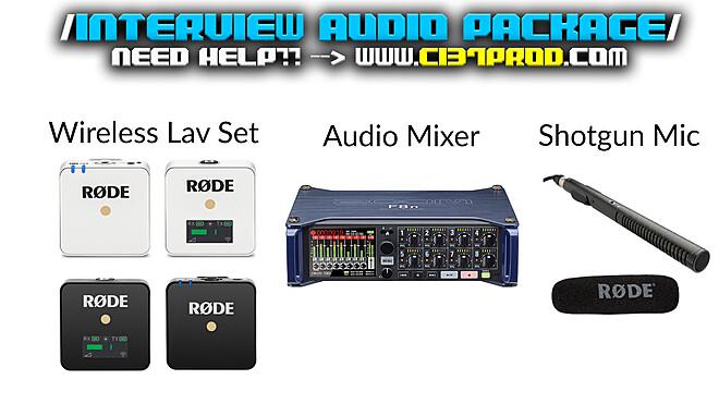 Interview Audio Package [ 2 sets of Lav  Mics + 1 Shotgun Mic  + 1 Mixer]