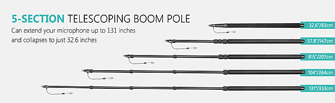 Portable Handheld Microphone Boom Pole with Built-in XLR Audio Cable