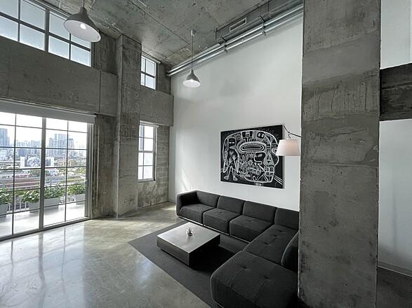 Huge modern Daylight studio concrete loft with stunning Miami views