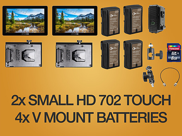 2x Small HD 702 Touch + 4x V-mount Battery + 1x Dual Charger