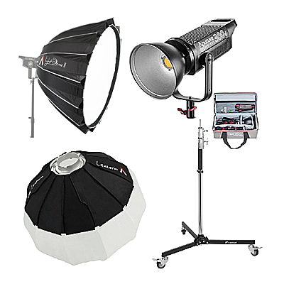 Aputure Light Storm C300D With Light Dome II, Lantern Softbox, & Rolling Stand